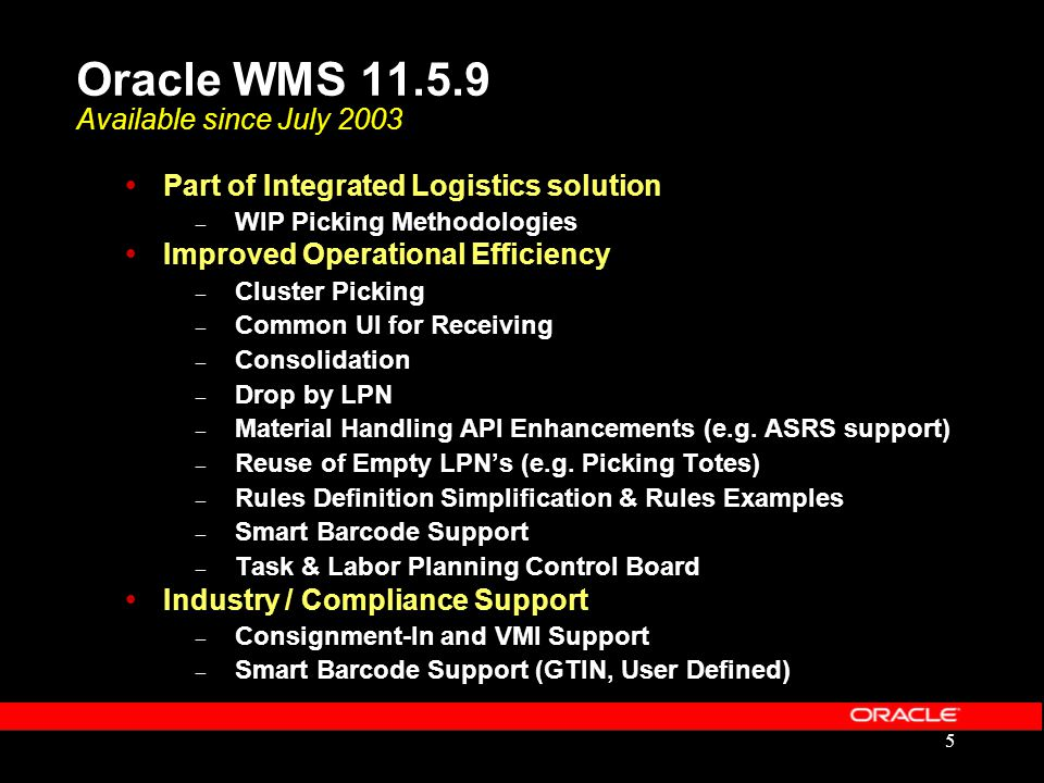 Oracle WMS 11.5.9 Available since July 2003