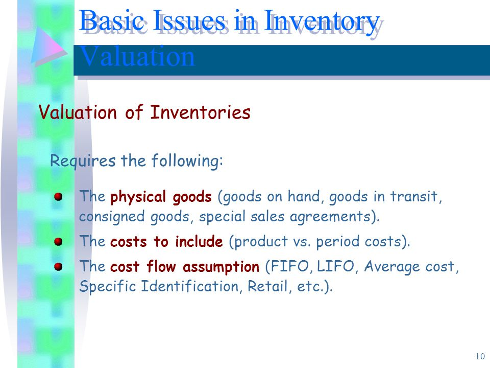 Basic Issues in Inventory Valuation