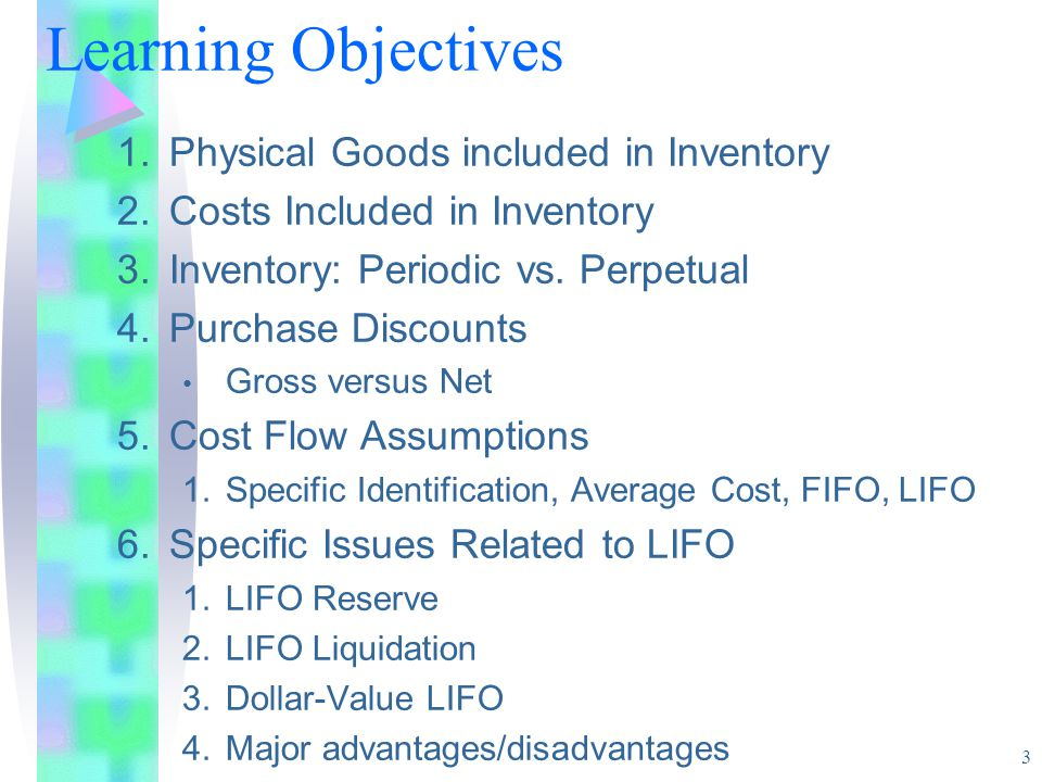 Learning Objectives Physical Goods included in Inventory