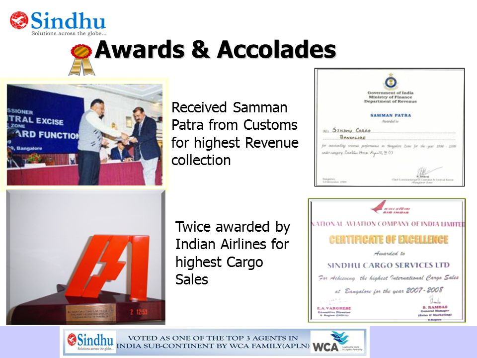 Awards & Accolades Received Samman Patra from Customs for highest Revenue collection.
