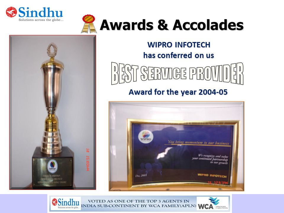 Awards & Accolades WIPRO INFOTECH has conferred on us