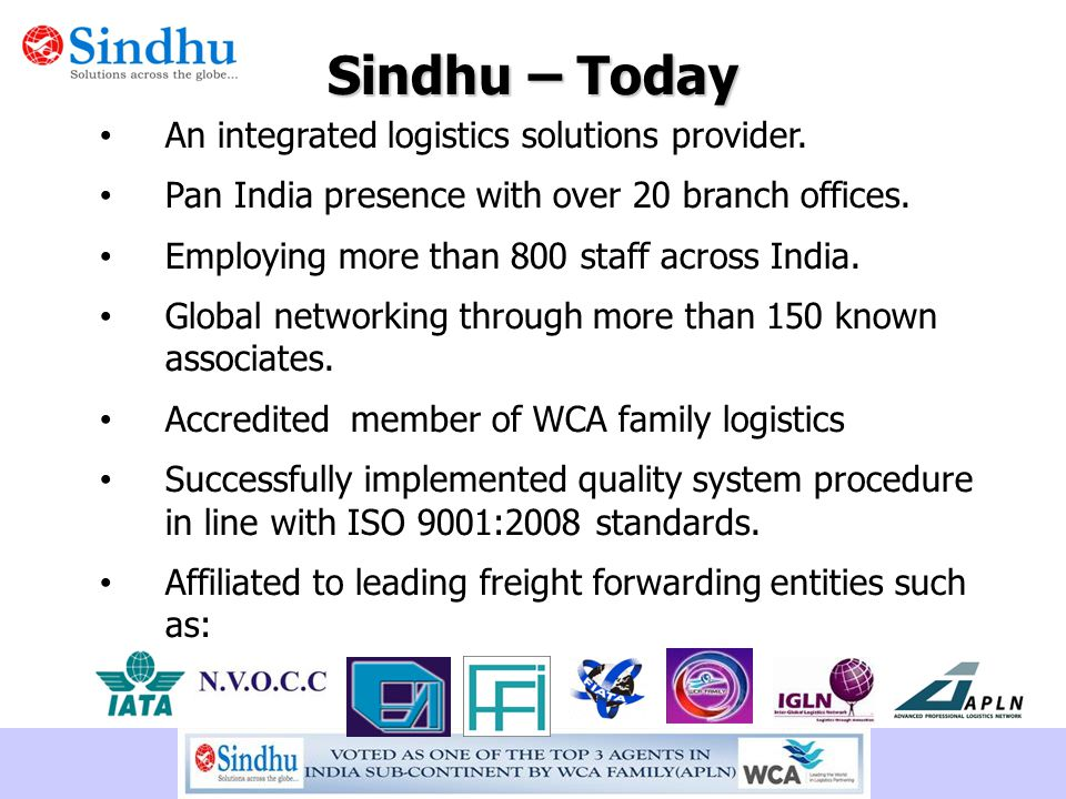 Sindhu – Today An integrated logistics solutions provider.