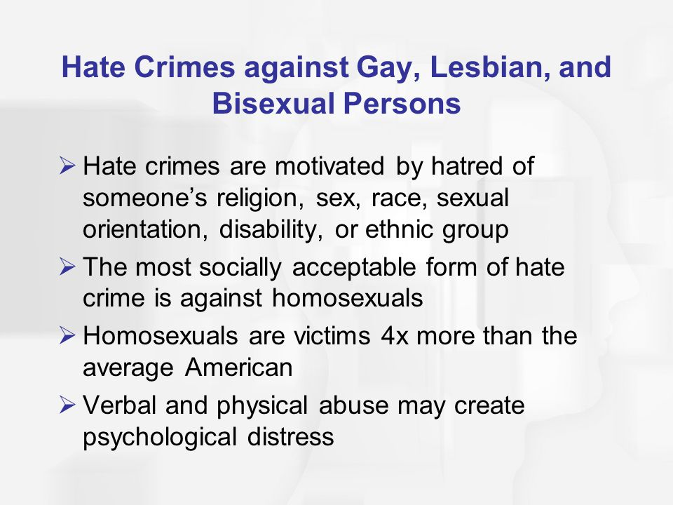 Hate Crimes against Gay, Lesbian, and Bisexual Persons
