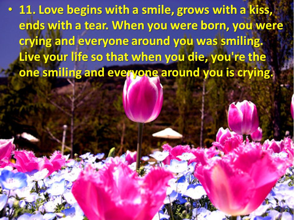 11. Love begins with a smile, grows with a kiss, ends with a tear