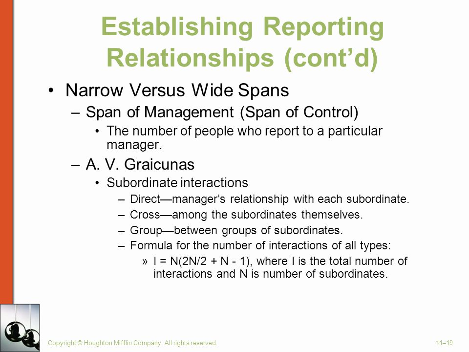 Establishing Reporting Relationships (cont'd)