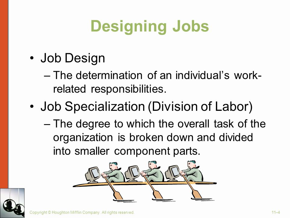 Designing Jobs Job Design Job Specialization (Division of Labor)