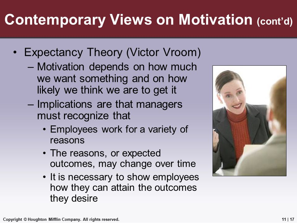 Contemporary Views on Motivation (cont'd)