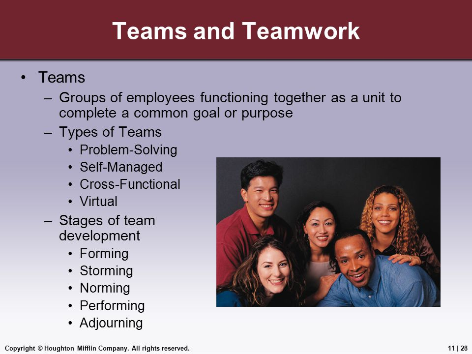 Teams and Teamwork Teams