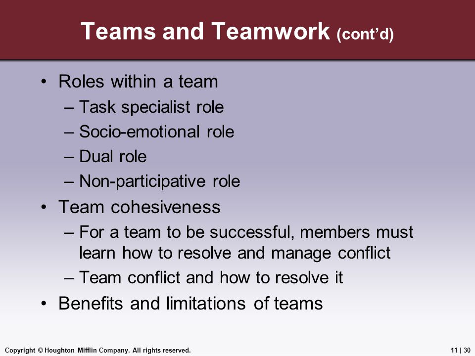 Teams and Teamwork (cont'd)