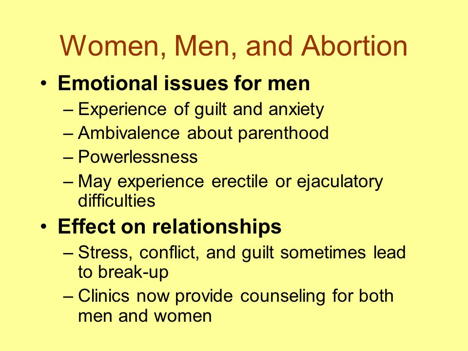 Women, Men, and Abortion Emotional issues for men