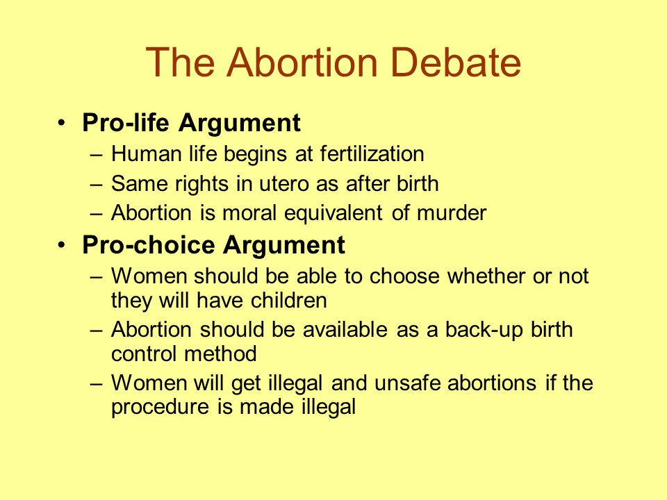 The Abortion Debate Pro-life Argument Pro-choice Argument