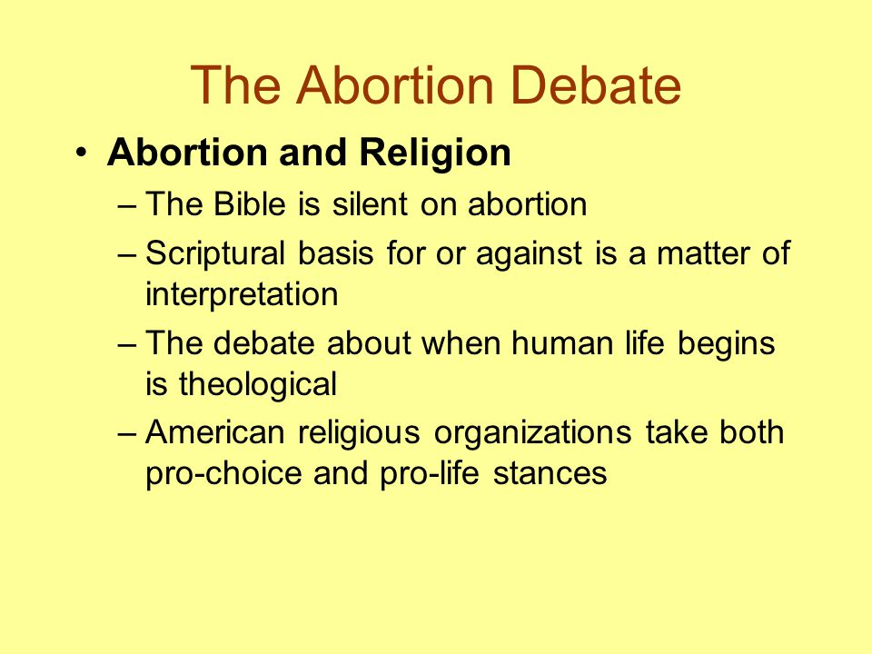 The Abortion Debate Abortion and Religion