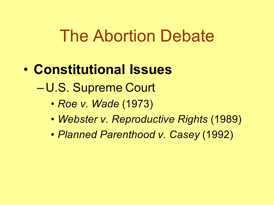 The Abortion Debate Constitutional Issues U.S. Supreme Court