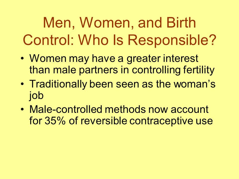 Men, Women, and Birth Control: Who Is Responsible
