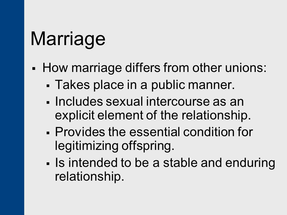 Marriage How marriage differs from other unions: