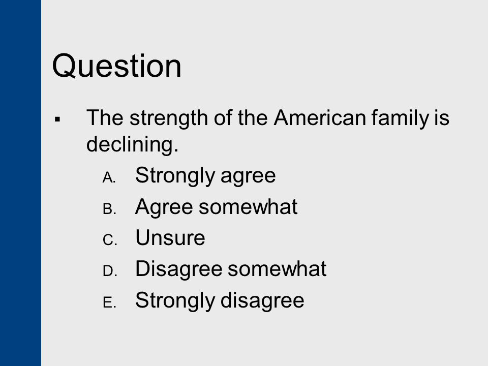 Question The strength of the American family is declining.