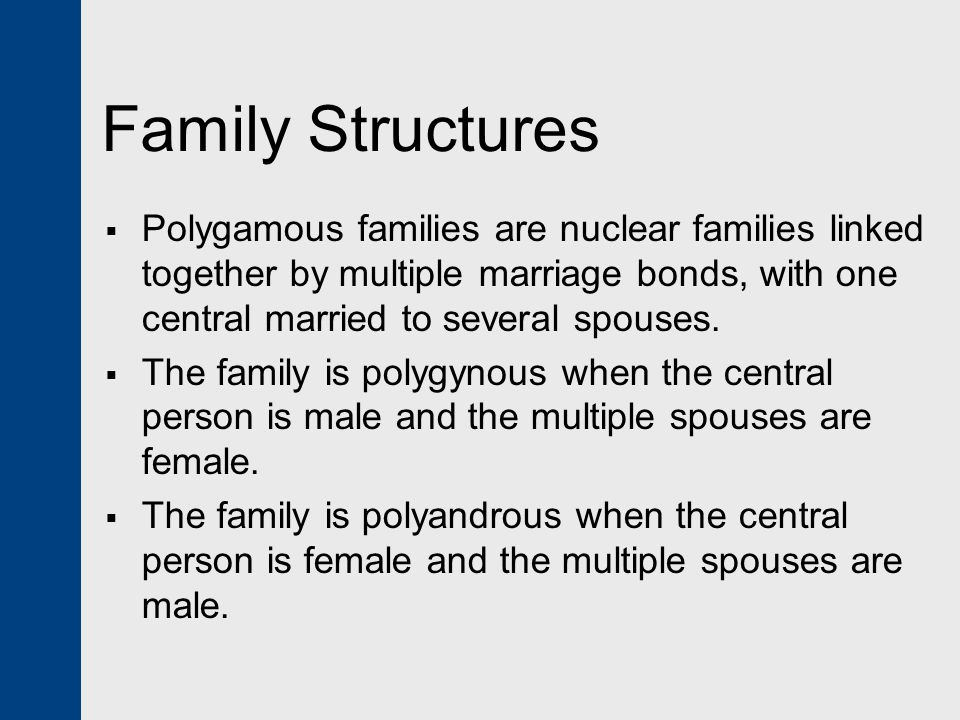 Family Structures Polygamous families are nuclear families linked together by multiple marriage bonds, with one central married to several spouses.