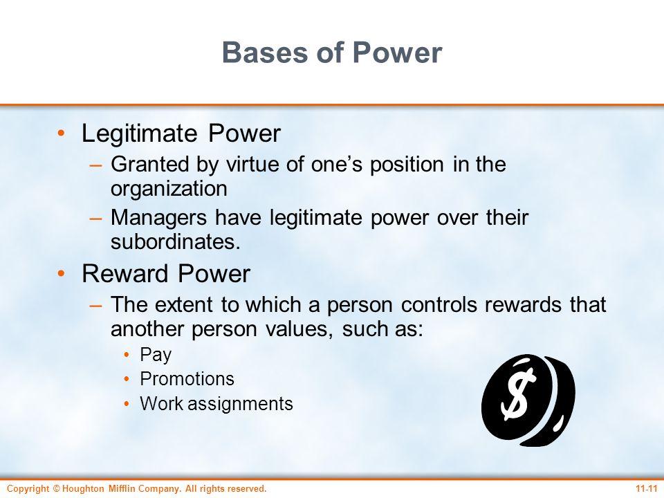 Bases of Power Legitimate Power Reward Power