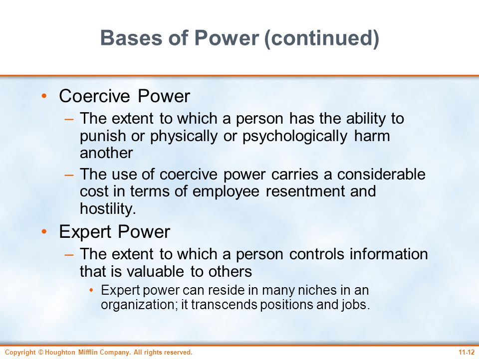 Bases of Power (continued)