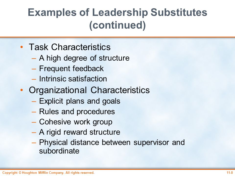 Examples of Leadership Substitutes (continued)