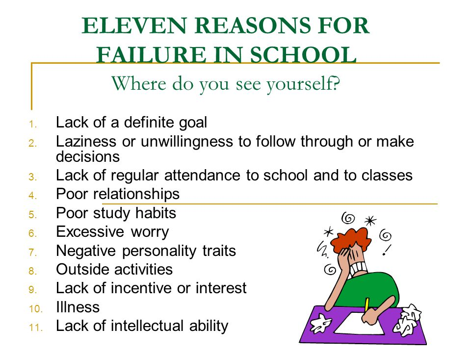 ELEVEN REASONS FOR FAILURE IN SCHOOL Where do you see yourself
