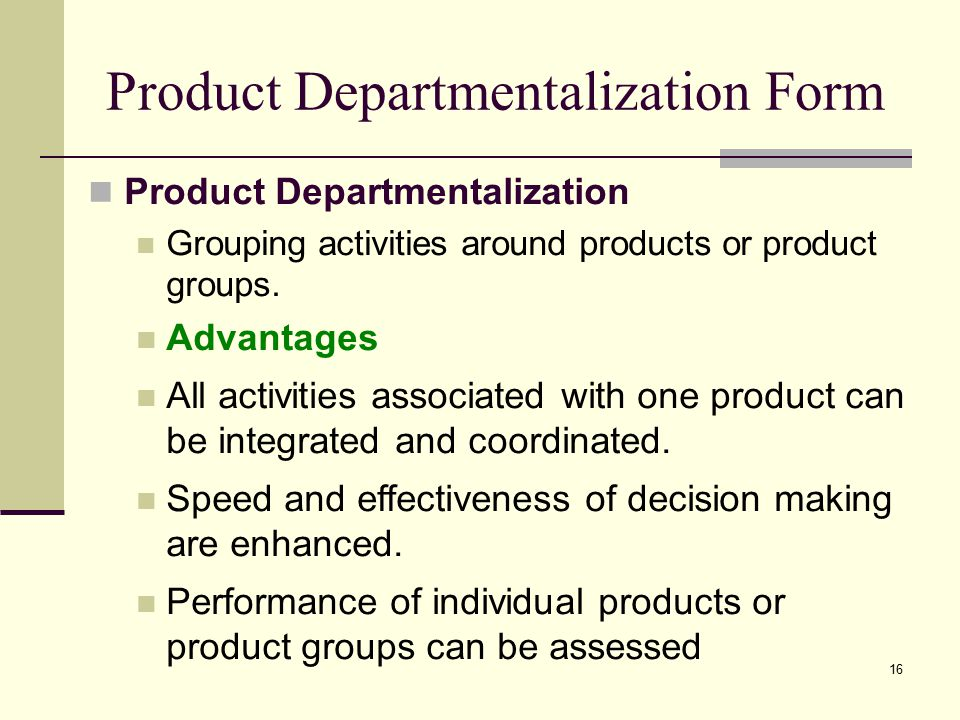 Product Departmentalization Form