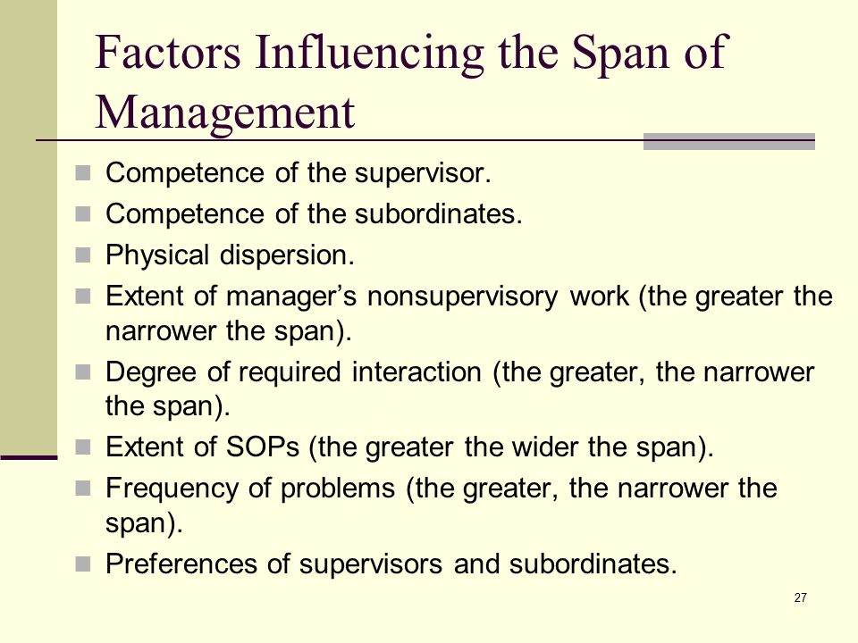 Factors Influencing the Span of Management