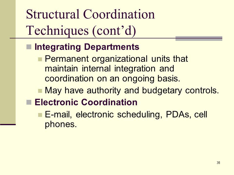 Structural Coordination Techniques (cont'd)