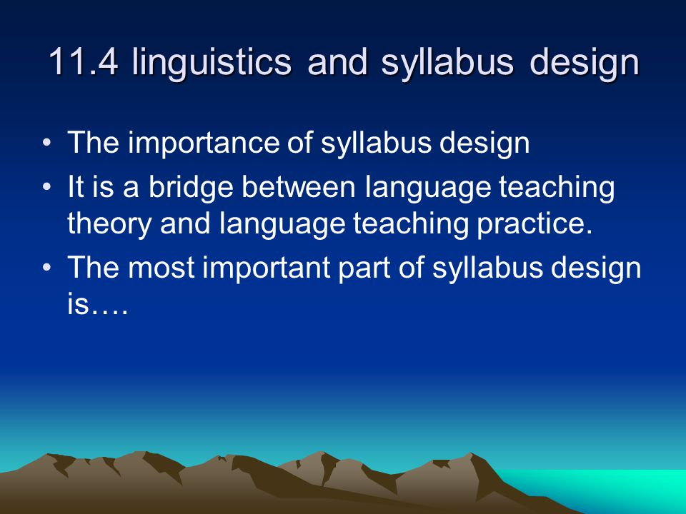 11.4 linguistics and syllabus design