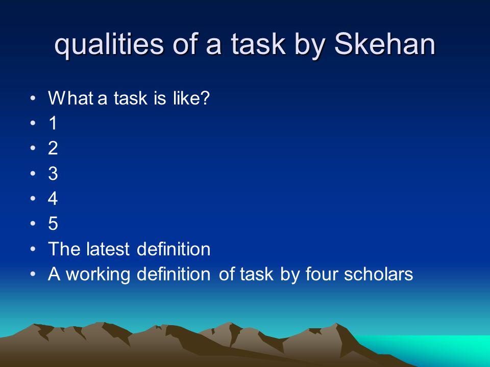 qualities of a task by Skehan