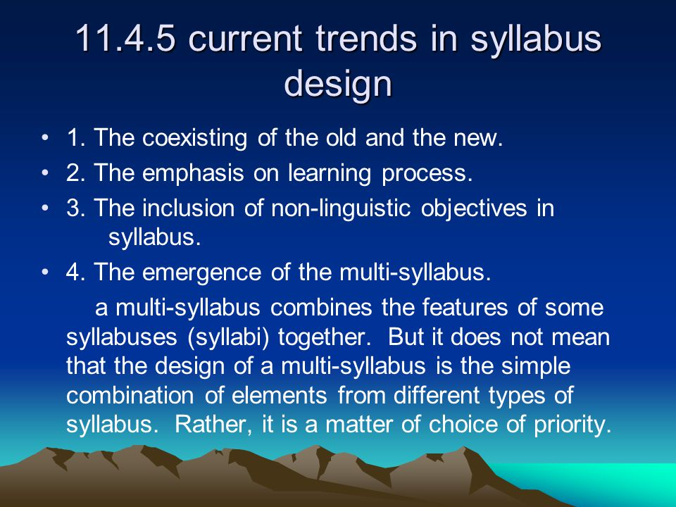 11.4.5 current trends in syllabus design