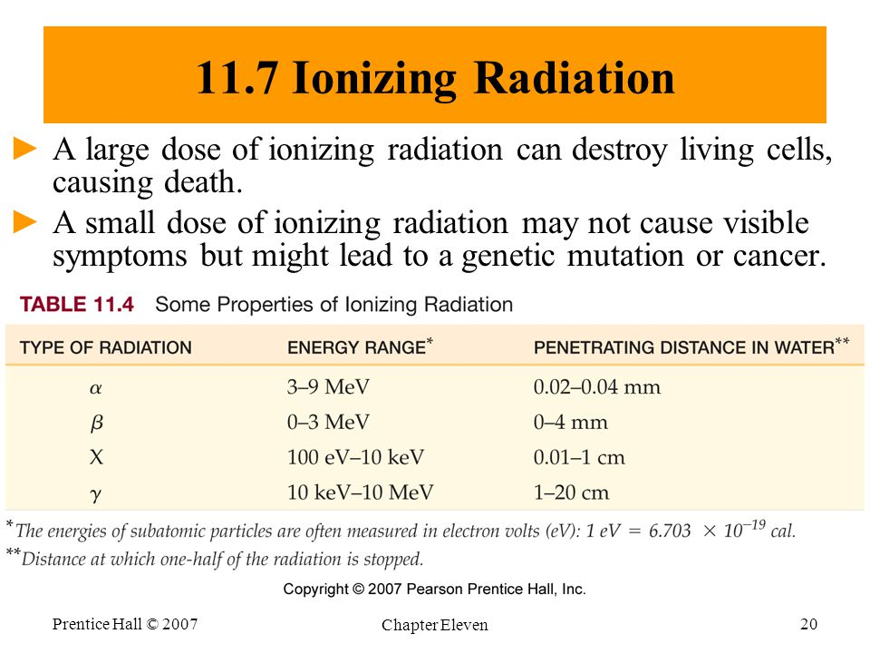 11.7 Ionizing Radiation A large dose of ionizing radiation can destroy living cells, causing death.