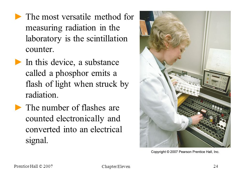 The most versatile method for measuring radiation in the laboratory is the scintillation counter.