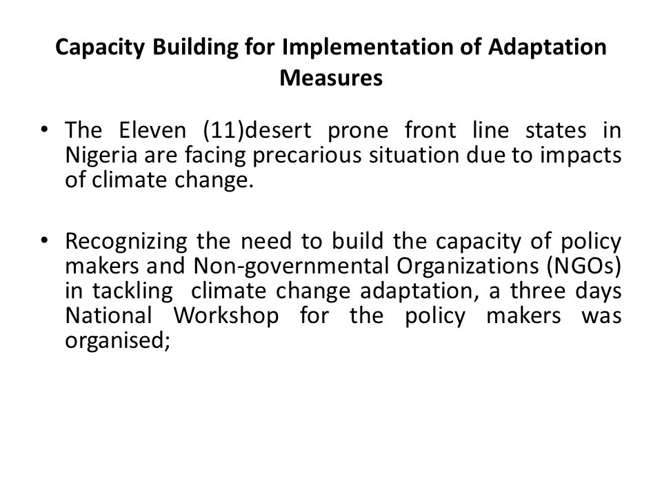 Capacity Building for Implementation of Adaptation Measures