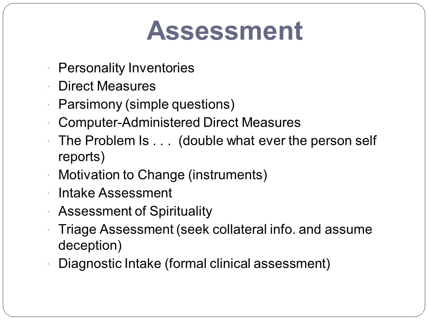 Assessment Personality Inventories Direct Measures