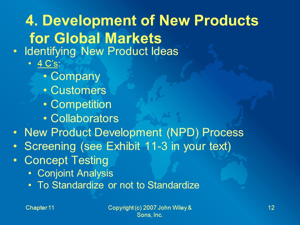 4. Development of New Products for Global Markets