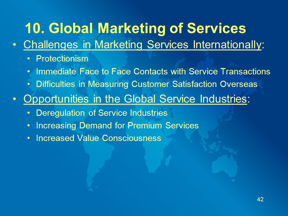 10. Global Marketing of Services