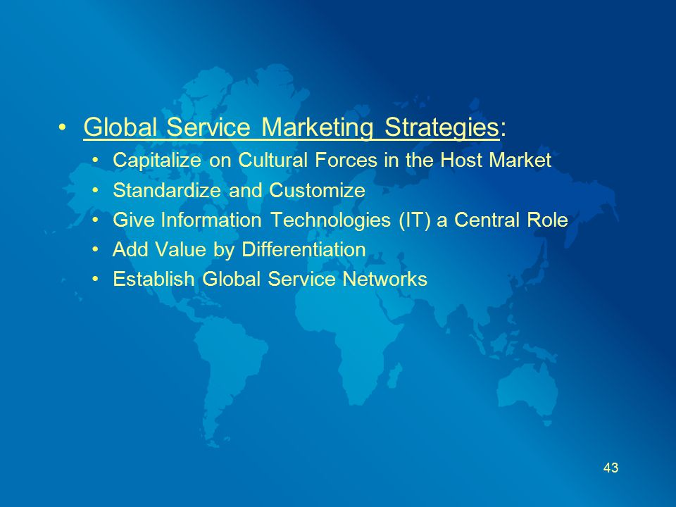 Global Service Marketing Strategies: