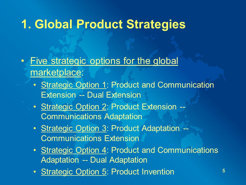 1. Global Product Strategies