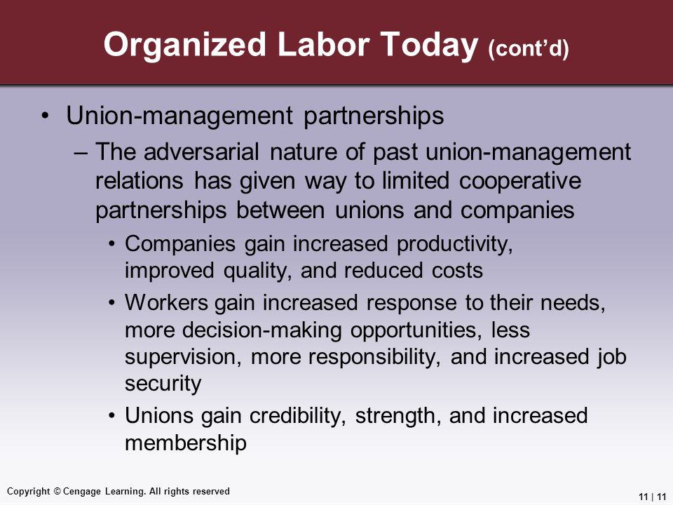Organized Labor Today (cont'd)