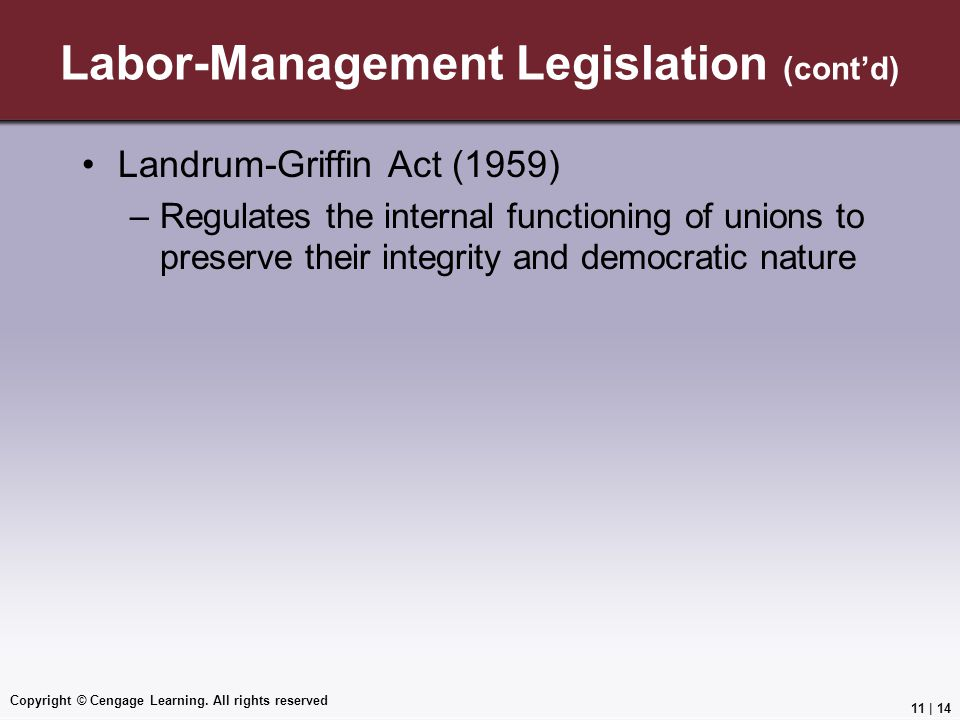 Labor-Management Legislation (cont'd)