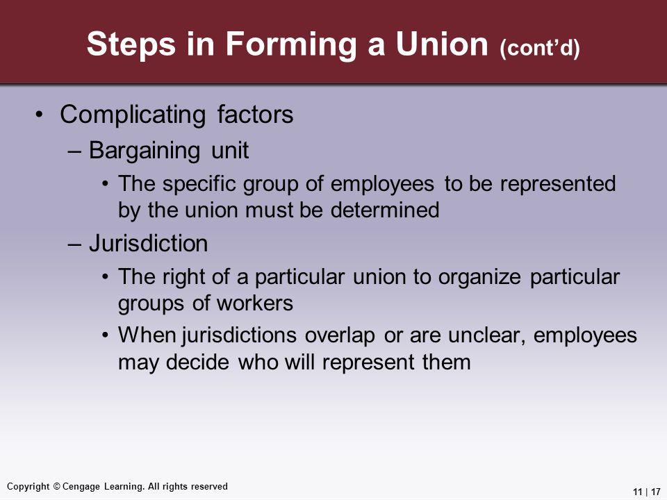 Steps in Forming a Union (cont'd)