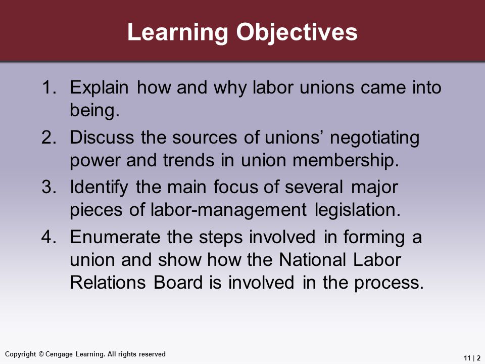 Learning Objectives Explain how and why labor unions came into being.