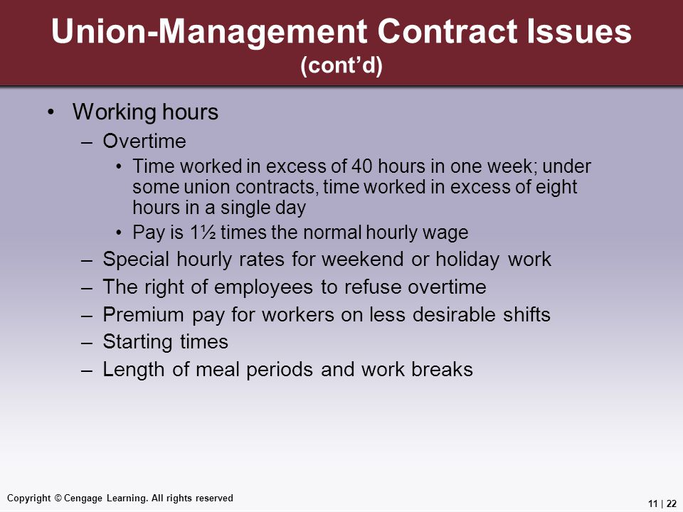Union-Management Contract Issues (cont'd)