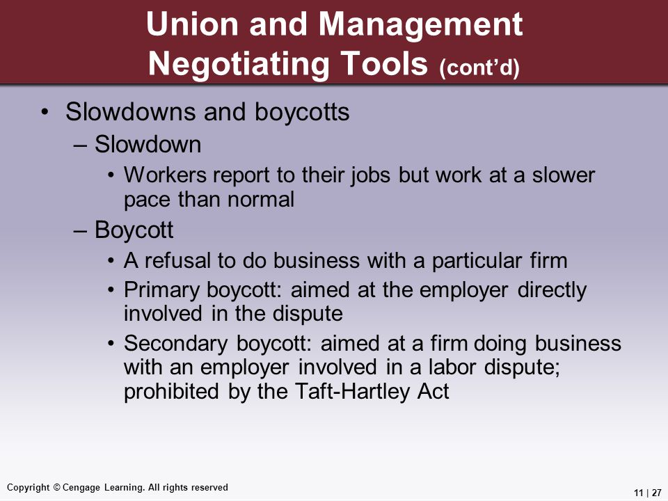 Union and Management Negotiating Tools (cont'd)