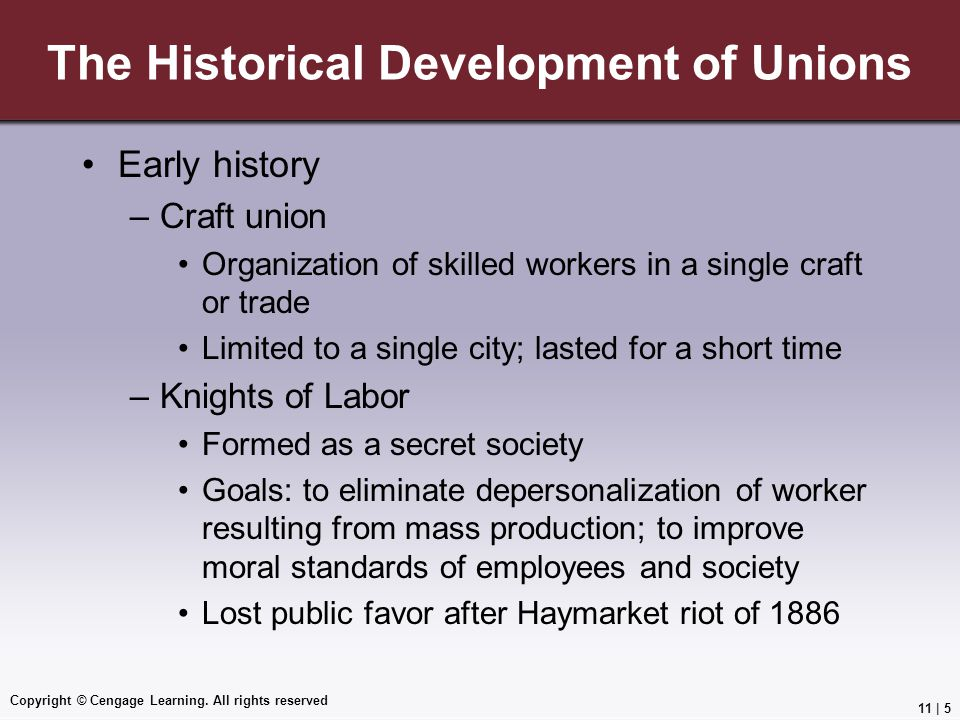 The Historical Development of Unions