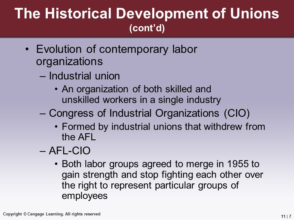 The Historical Development of Unions (cont'd)