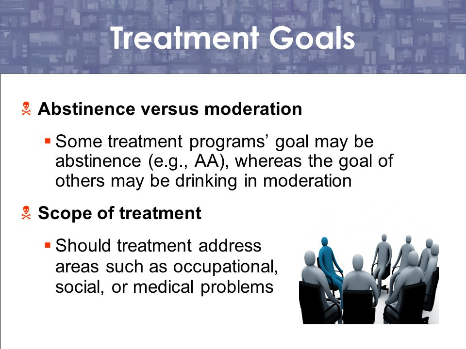 Treatment Goals Abstinence versus moderation