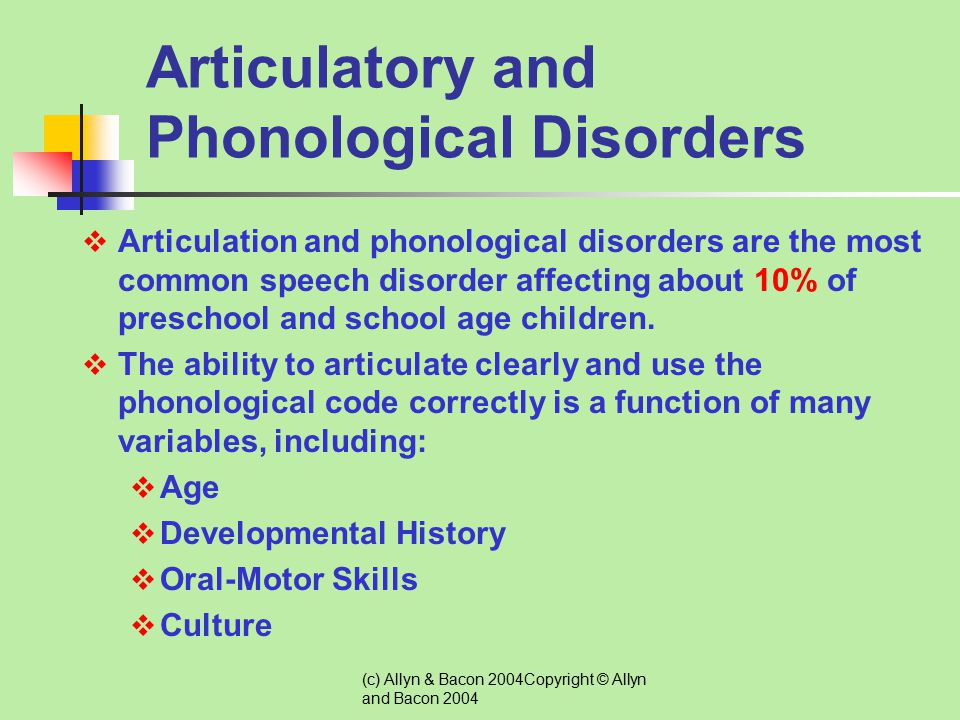 Articulatory and Phonological Disorders