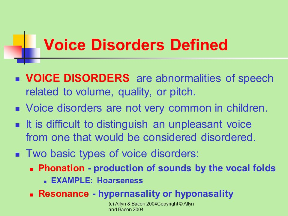 Voice Disorders Defined